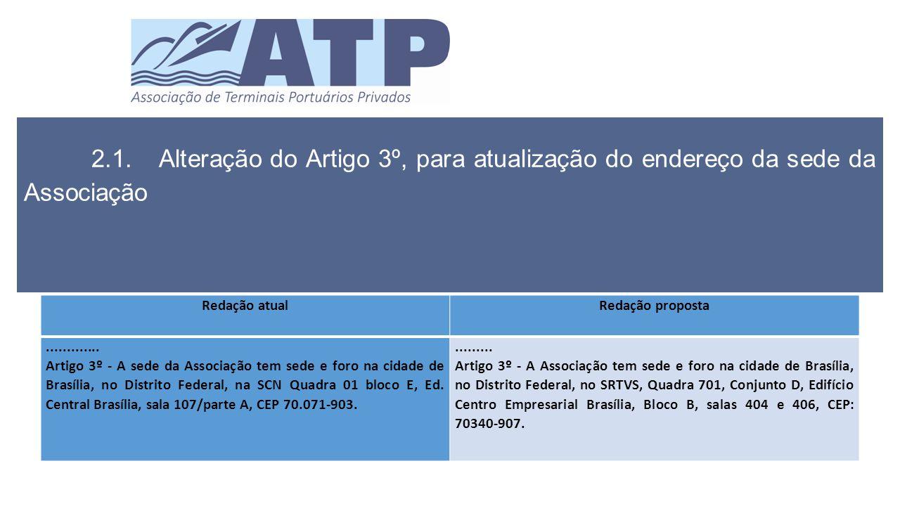 2.1.Alteração do Artigo 3º, para atualização do endereço da sede da Associação Redação atualRedação proposta.............