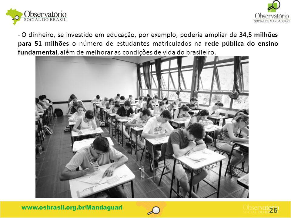 - O dinheiro, se investido em educação, por exemplo, poderia ampliar de 34,5 milhões para 51 milhões o número de estudantes matriculados na rede públi