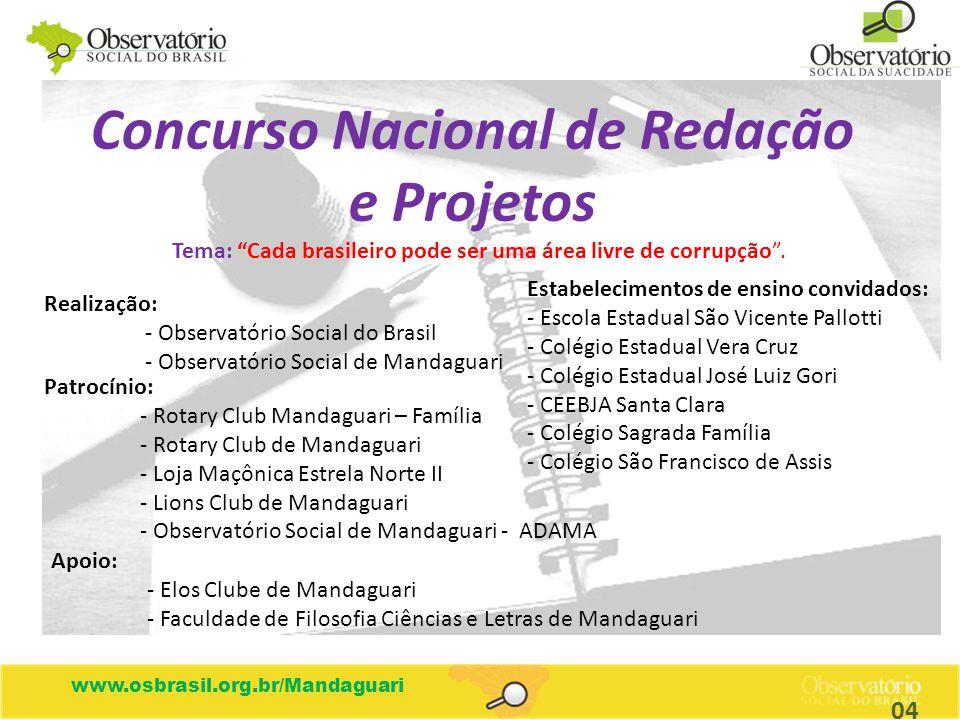 www.osbrasil.org.br/Mandaguari ETAPAS: MUNICIPAL Até 30/08 ESTADUAL Até 31/10 NACIONAL Até 30/11 Obs: Produção de uma única redação/projeto na etapa municipal, cujos vencedores concorrerão nas etapas estadual e nacional.