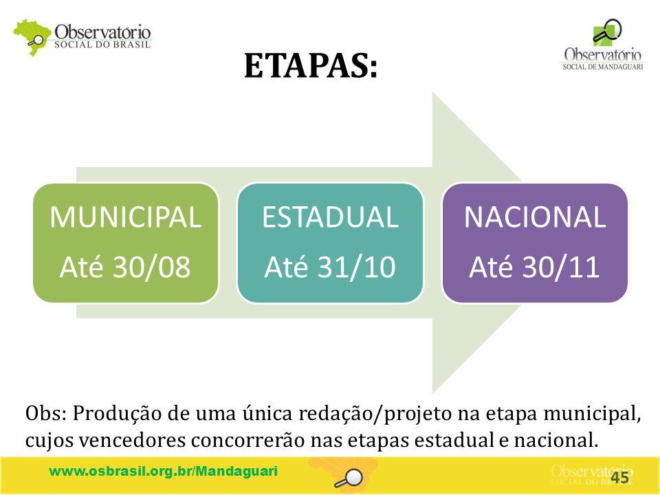 www.osbrasil.org.br/Mandaguari ETAPAS: MUNICIPAL Até 30/08 ESTADUAL Até 31/10 NACIONAL Até 30/11 Obs: Produção de uma única redação/projeto na etapa m