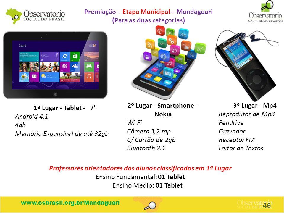 www.osbrasil.org.br/Mandaguari Premiação - Etapa Municipal – Mandaguari (Para as duas categorias) 1º Lugar - Tablet - 7' Android 4.1 4gb Memória Expan