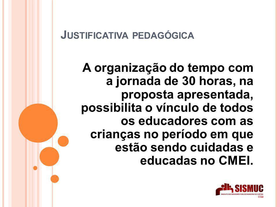 J USTIFICATIVA PEDAGÓGICA A organização do tempo com a jornada de 30 horas, na proposta apresentada, possibilita o vínculo de todos os educadores com as crianças no período em que estão sendo cuidadas e educadas no CMEI.