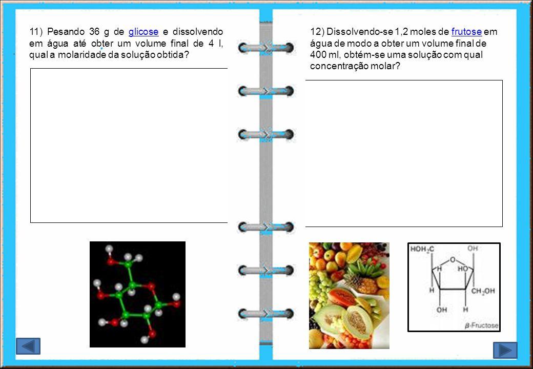 13) Qual a massa de solução à 30 % em massa de ácido sulfúrico que contém 3 g do ácido?ácido sulfúrico 14) Calcule o volume de uma solução de hidróxido de sódio 0,6 M, sabendo-se que ela contém 30g do soluto.