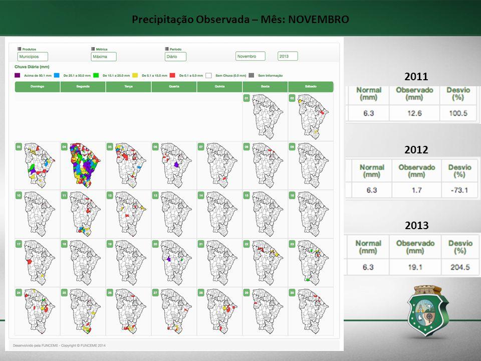 Precipitação Observada – Mês: NOVEMBRO 2013 2012 2011