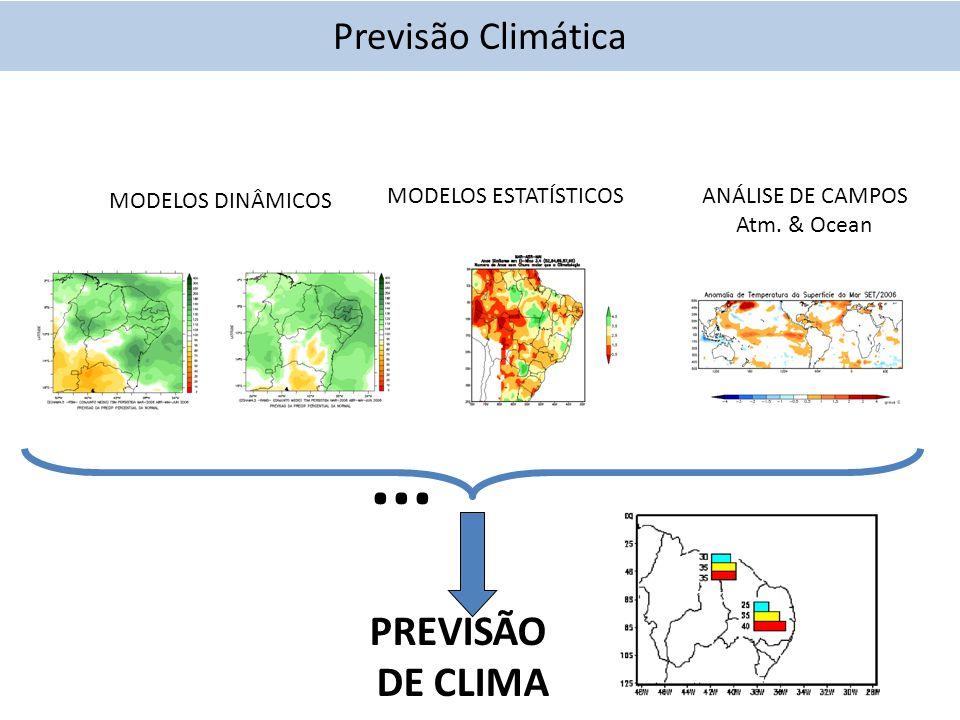 PREVISÃO DE CLIMA ANÁLISE DE CAMPOS Atm. & Ocean MODELOS DINÂMICOS MODELOS ESTATÍSTICOS...