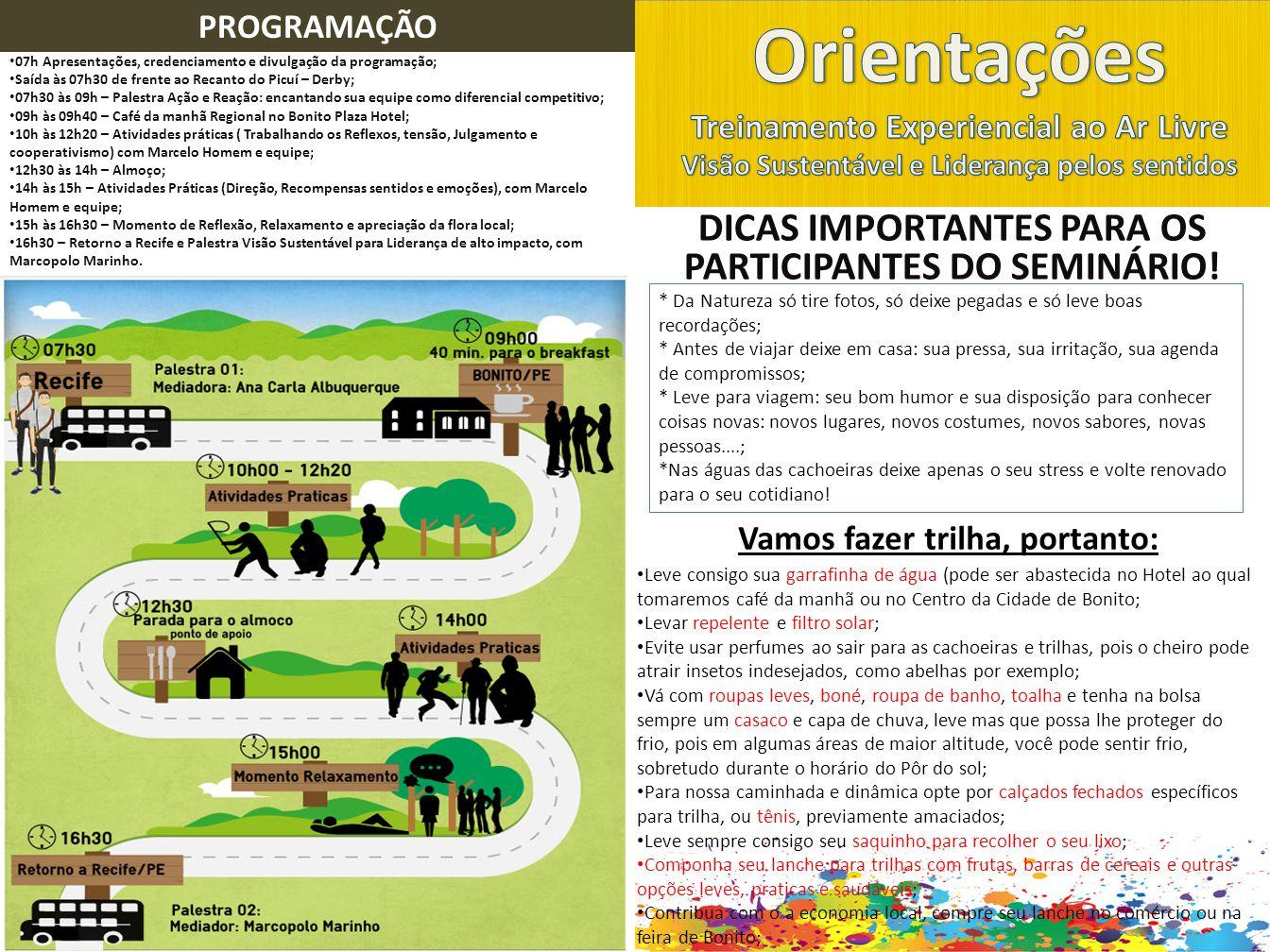 DICAS IMPORTANTES PARA OS PARTICIPANTES DO SEMINÁRIO.