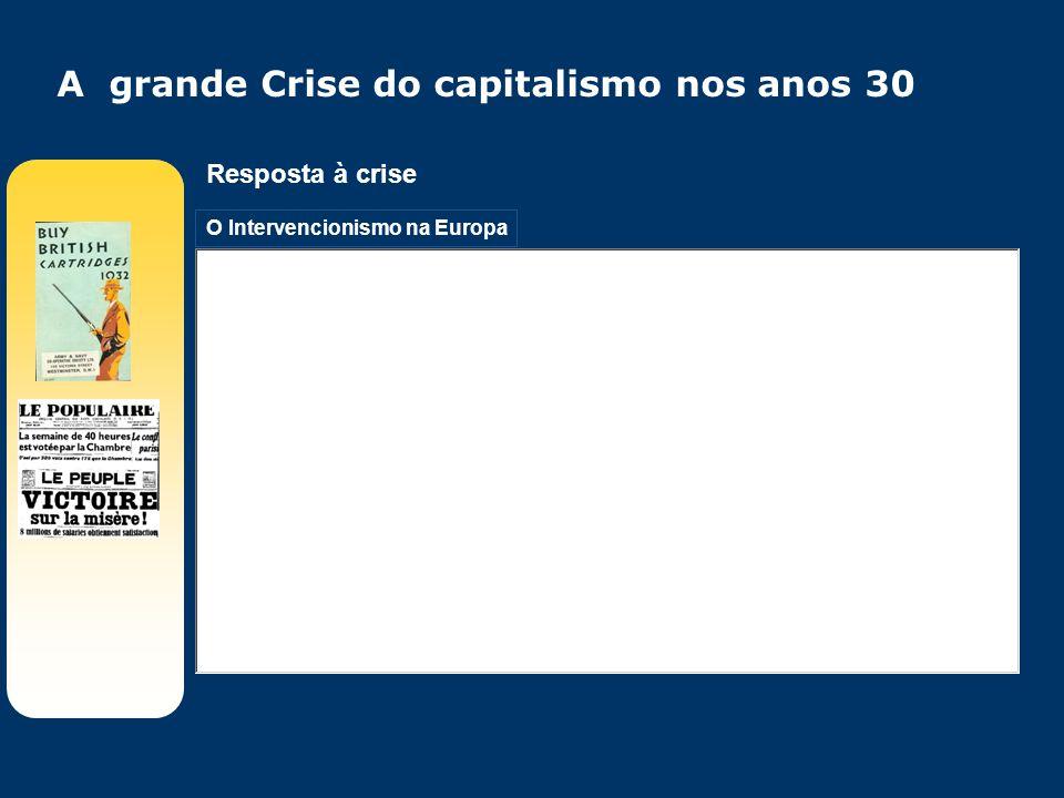 O Intervencionismo na Europa Resposta à crise A grande Crise do capitalismo nos anos 30