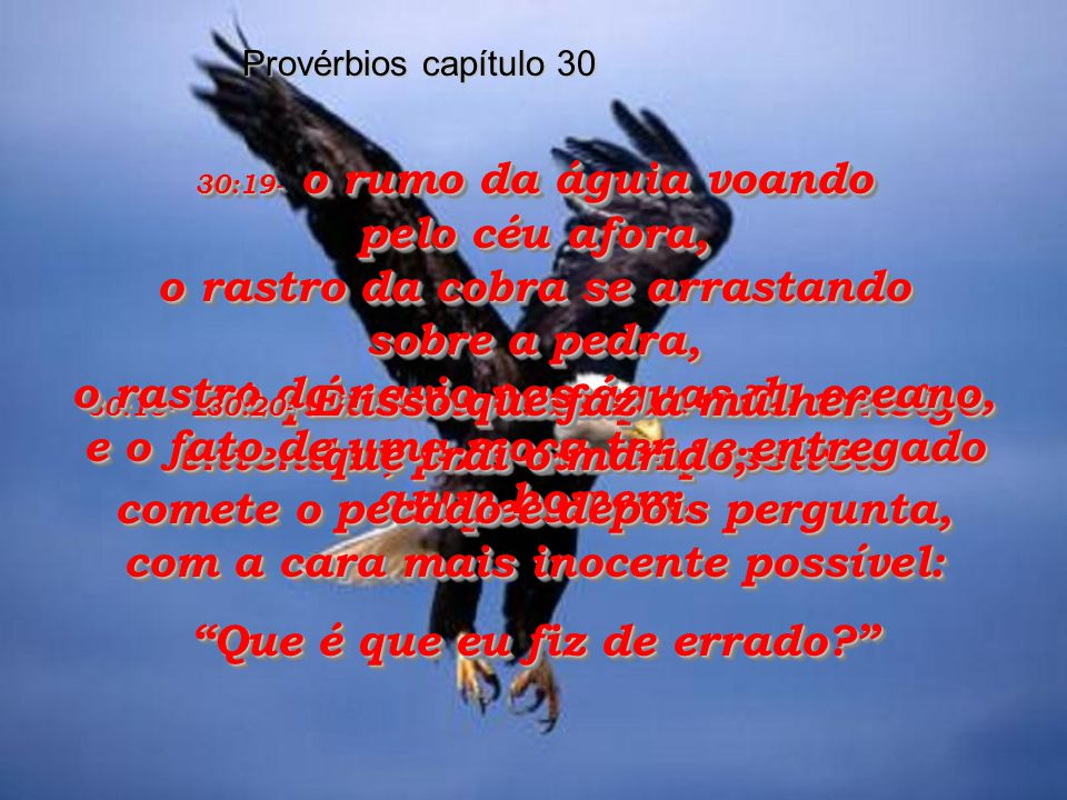 30:15- Há quatro coisas que nunca ficam satisfeitas, como a sanguessuga que nunca se farta do sangue humano.