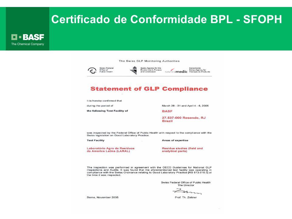 Certificado de Conformidade BPL - SFOPH