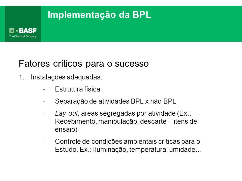 Implementação da BPL Fatores críticos para o sucesso 1.Instalações adequadas: -Estrutura física -Separação de atividades BPL x não BPL -Lay-out, áreas