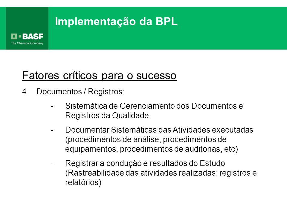 Fatores críticos para o sucesso 4.Documentos / Registros: -Sistemática de Gerenciamento dos Documentos e Registros da Qualidade -Documentar Sistemátic