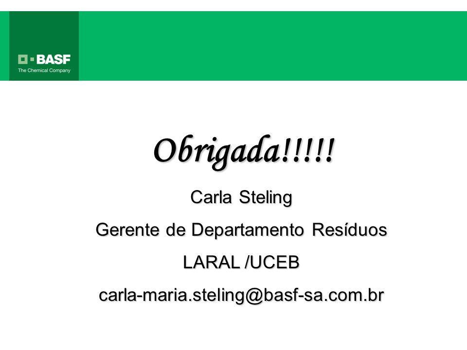 Obrigada!!!!! Carla Steling Gerente de Departamento Resíduos LARAL /UCEB carla-maria.steling@basf-sa.com.br