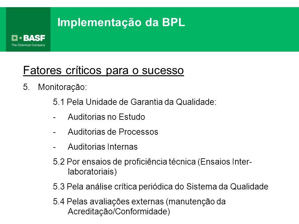 Implementação da BPL Fatores críticos para o sucesso 5.Monitoração: 5.1 Pela Unidade de Garantia da Qualidade: -Auditorias no Estudo -Auditorias de Pr