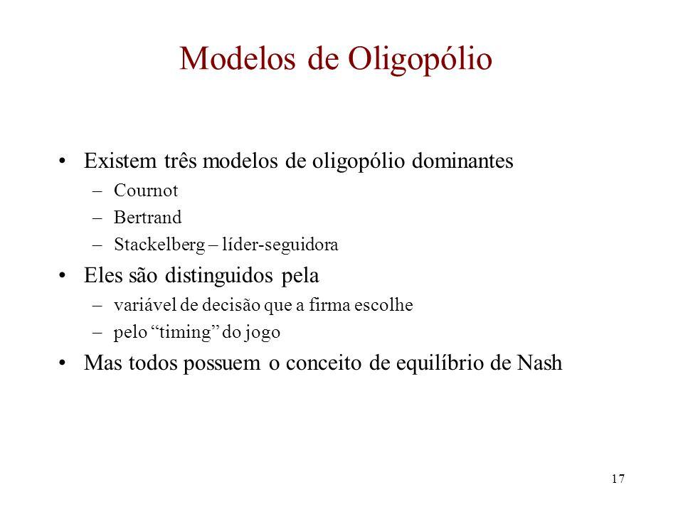 16 Equilíbrio de Nash (cont.) A Matriz de Pay-Offs WebJet Gol P H = $500 ($9000,$9000)($0, $3600) ($3600, $0)($1800, $1800) P H = $500 P L = $220 ($0, $3600) ($3600, $0) ($3,000, $3,000) ($1800, $1800) A Gol pode ver que se ela escolhe um preço alto, então a WebJet irá escolher preços altos A Gol ganha $9000.