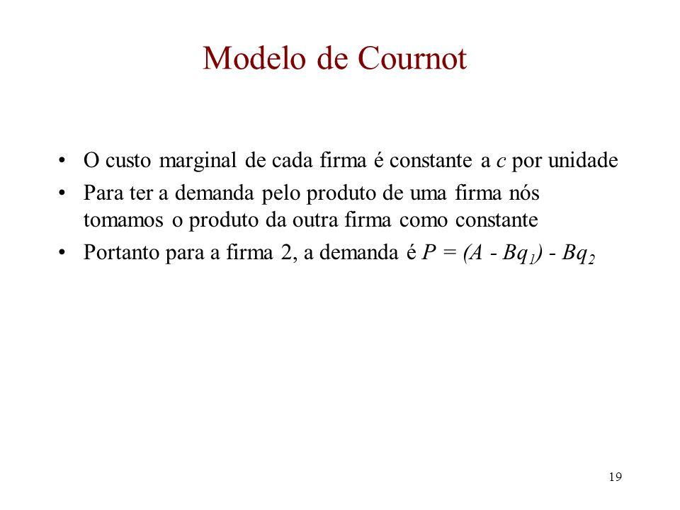 18 O Modelo de Cournot Vamos começar com um duopólio Duas firmas fazem um produto idêntico (Cournot supôs que fosse água potável) A demanda por este produto é P = A - BQ = A - B(q 1 + q 2 ) tal que q 1 é o produto da firma 1 e q 2 é o produto da firma 2