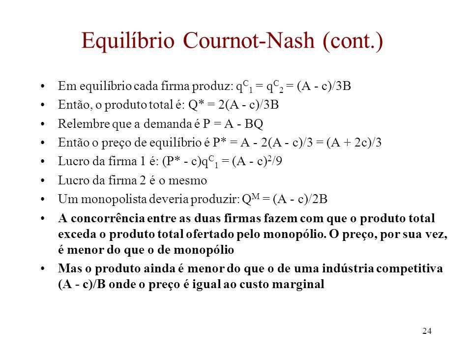 23 Equilíbrio Cournot-Nash q2q2 q1q1 (A-c)/B (A-c)/2B Função melhor-resposta Firma 1 (A-c)/2B (A-c)/B Função melhor-resposta Firma 2 C q* 1 = (A - c)/2B - q* 2 /2 q* 2 = (A - c)/2B - q* 1 /2  q* 2 = (A - c)/2B - (A - c)/4B + q* 2 /4  3q* 2 /4 = (A - c)/4B  q* 2 = (A - c)/3B (A-c)/3B  q* 1 = (A - c)/3B
