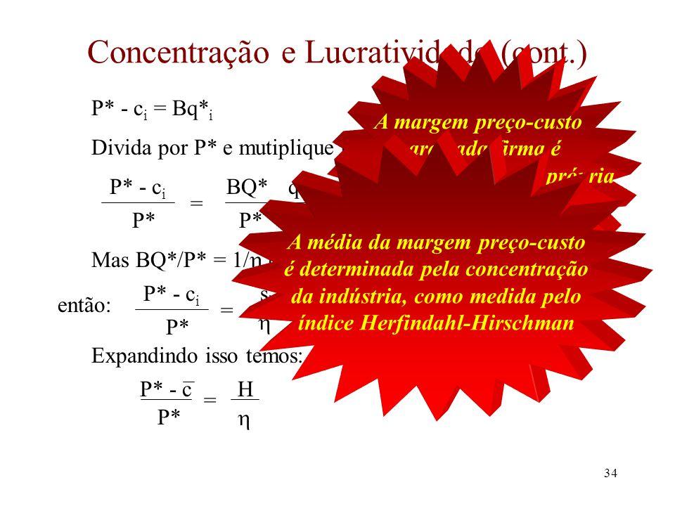 33 Concentração e Lucratividade Assuma N firmas com custo marginais diferentes Nós podemos usar a análise de N-firmas com uma simples mudança A demanda para a firma 1 é P = (A - BQ -1 ) - Bq 1 Mas a demanda para a firma i é P = (A - BQ -i ) - Bq i Iguala a receita marginal ao custo marginal c i A - BQ -i - 2Bq i = c i Isto pode ser organizado para dar as condições de mercado: A - B(Q* -i + q* i ) - Bq* i - c i = 0 Mas Q* -i + q* i = Q* e A - BQ* = P*  P* - Bq* i - c i = 0  P* - c i = Bq* i
