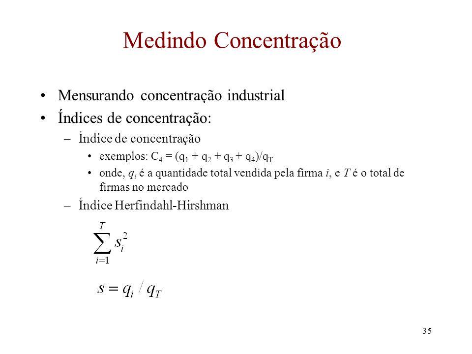 34 Concentração e Lucratividade (cont.) P* - c i = Bq* i Divida por P* e mutiplique o lado direito Q*/Q* P* - c i P* = BQ* P* q* i Q* Mas BQ*/P* = 1/
