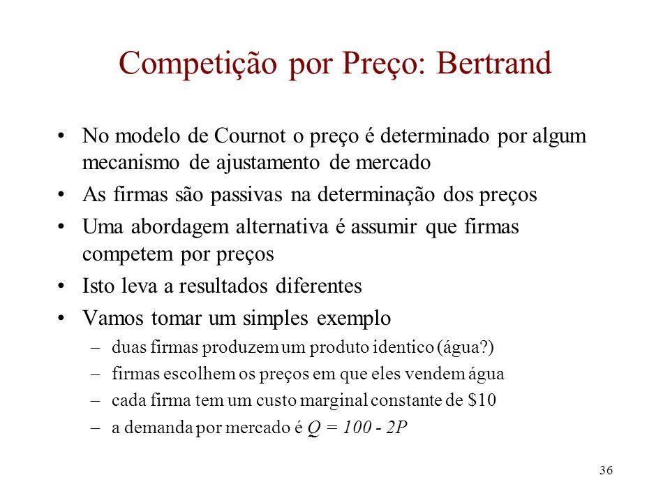 35 Medindo Concentração Mensurando concentração industrial Índices de concentração: –Índice de concentração exemplos: C 4 = (q 1 + q 2 + q 3 + q 4 )/q