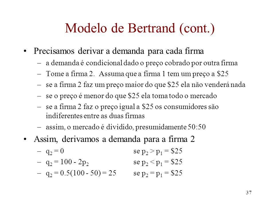 36 Competição por Preço: Bertrand No modelo de Cournot o preço é determinado por algum mecanismo de ajustamento de mercado As firmas são passivas na d
