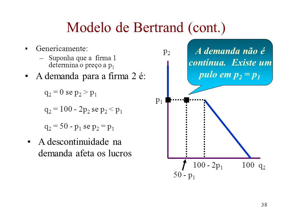 37 Modelo de Bertrand (cont.) Precisamos derivar a demanda para cada firma –a demanda é condicional dado o preço cobrado por outra firma –Tome a firma 2.