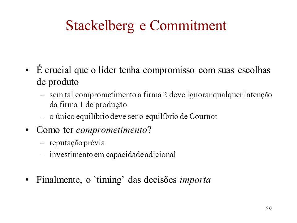 58 Modelo de Stackelberg Lição: se mover primeiro é melhor do que depois. Ou, entrar primeiro no mercado possui maior retorno do que entrar depois.