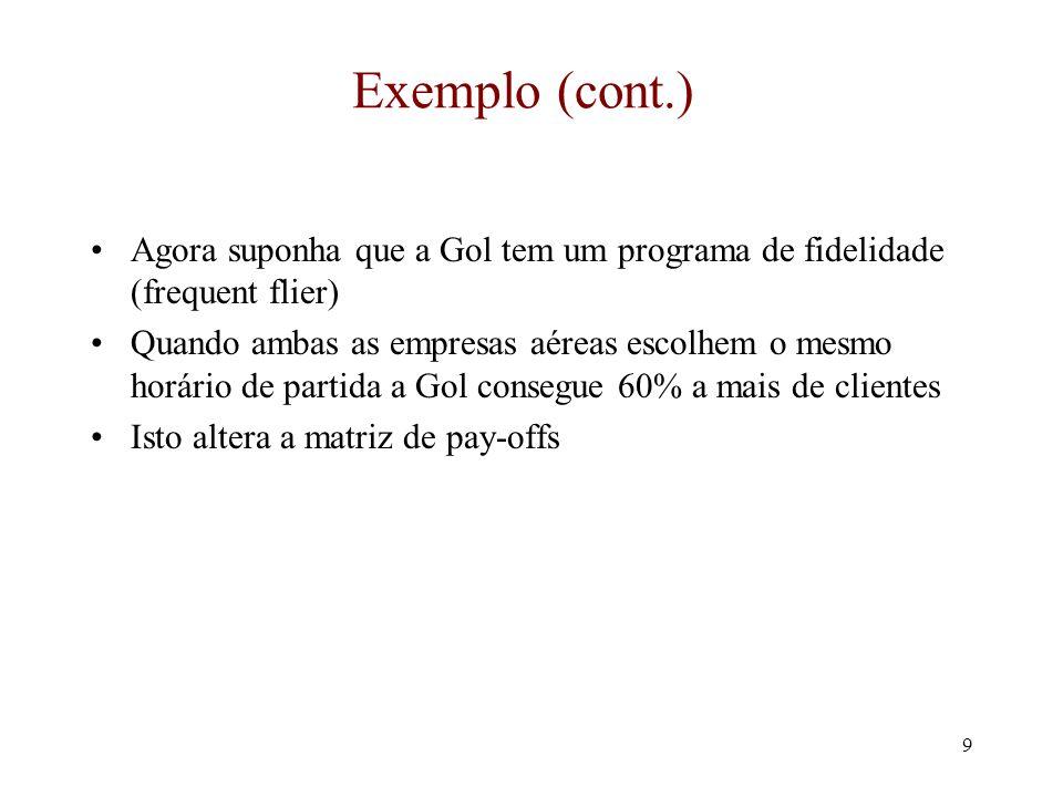 8 O exemplo (cont.) A Matriz de Pay-Offs WebJet Gol Manhã Tarde (15, 15) Se a WebJet escolhe uma partida pela manhã, a Gol irá escolher a tarde (30, 70) (70, 30)(35, 35) Se a WebJet escolhe uma partida a tarde, a Gol ainda ecolherá a tarde A partida de manhã é uma estratégia dominada para a Gol e pode ser eliminada.