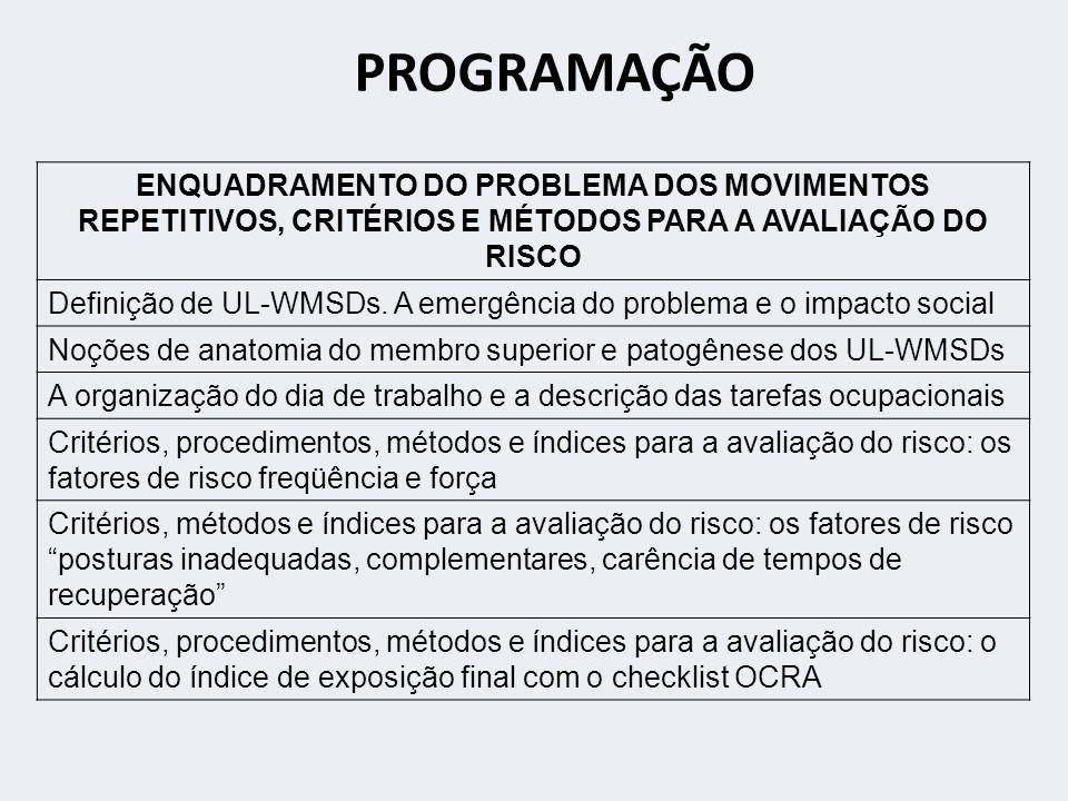 PROGRAMAÇÃO ENQUADRAMENTO DO PROBLEMA DOS MOVIMENTOS REPETITIVOS, CRITÉRIOS E MÉTODOS PARA A AVALIAÇÃO DO RISCO Definição de UL-WMSDs.