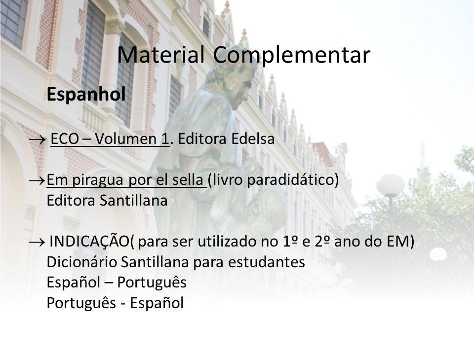 Material Complementar Espanhol  ECO – Volumen 1.