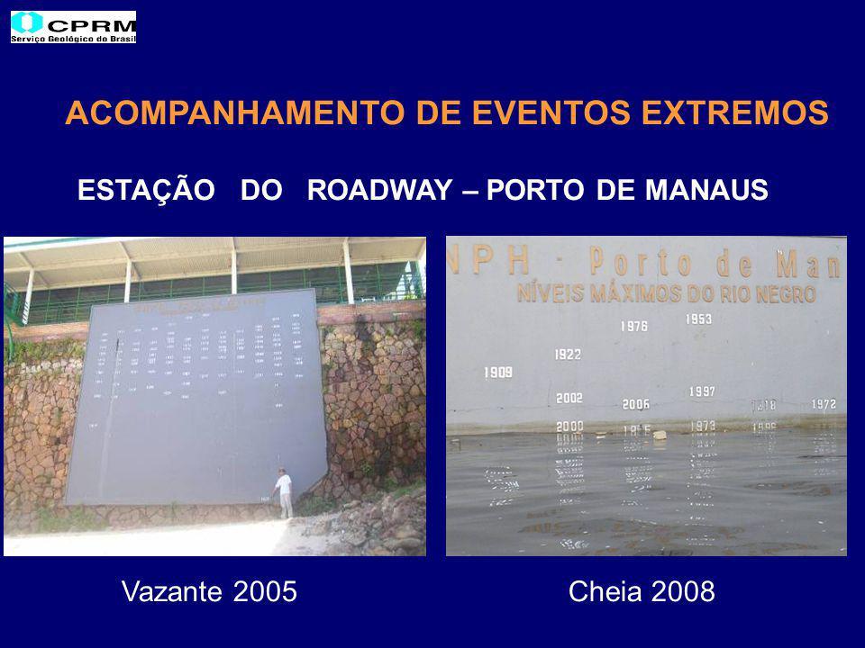 ACOMPANHAMENTO DE EVENTOS EXTREMOS ESTAÇÃO DO ROADWAY – PORTO DE MANAUS Vazante 2005 Cheia 2008