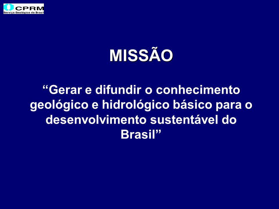 MISSÃO Gerar e difundir o conhecimento geológico e hidrológico básico para o desenvolvimento sustentável do Brasil