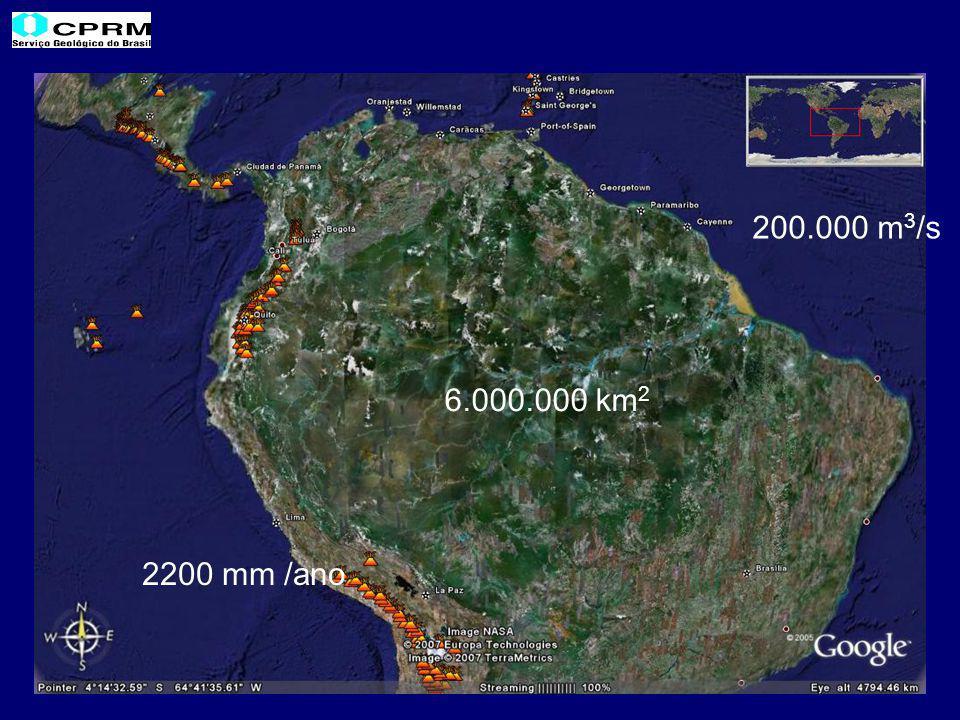 2200 mm /ano 6.000.000 km 2 200.000 m 3 /s