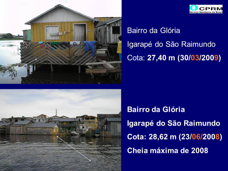 Bairro da Glória Igarapé do São Raimundo Cota: 27,40 m (30/03/2009) Bairro da Glória Igarapé do São Raimundo Cota: 28,62 m (23/06/2008) Cheia máxima de 2008