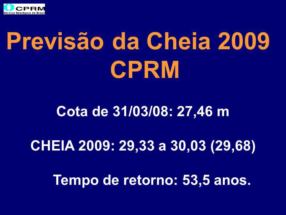 Previsão da Cheia 2009 CPRM Cota de 31/03/08: 27,46 m CHEIA 2009: 29,33 a 30,03 (29,68) Tempo de retorno: 53,5 anos.