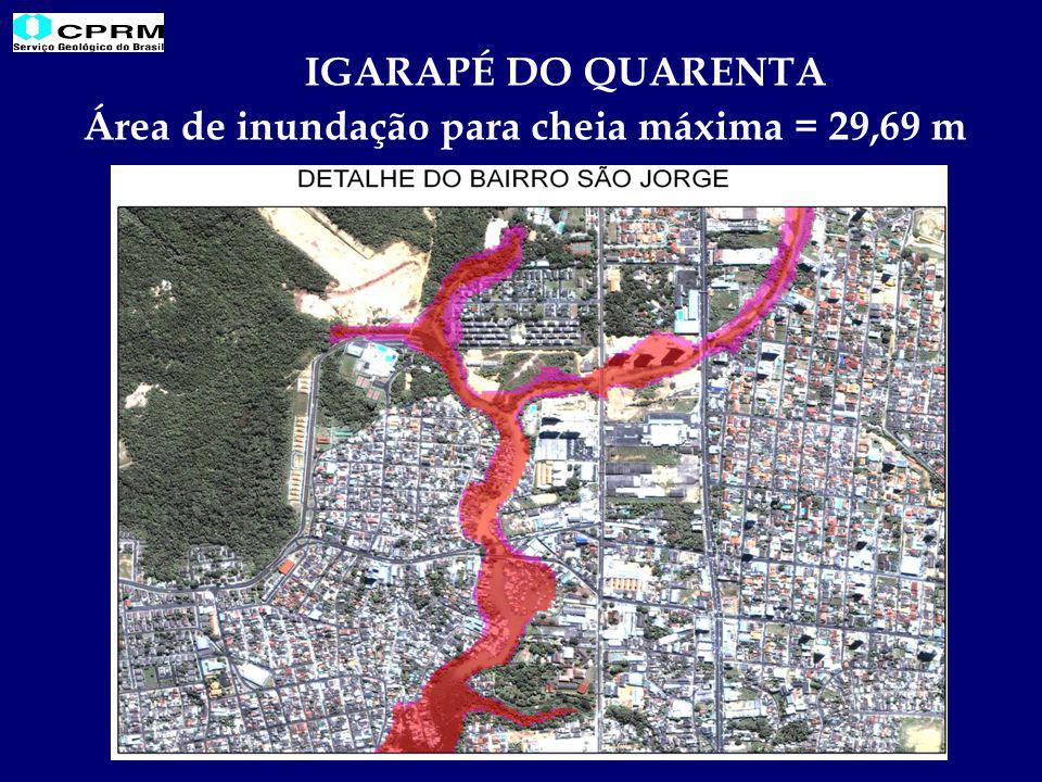 IGARAPÉ DO QUARENTA Área de inundação para cheia máxima = 29,69 m