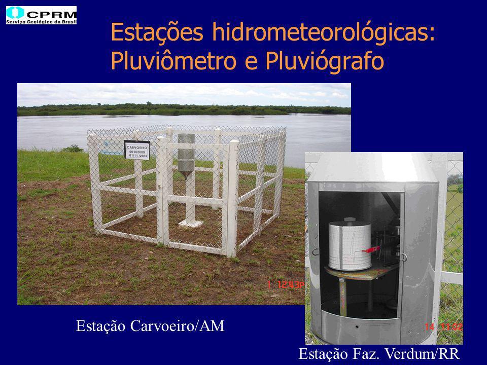 Estações hidrometeorológicas: Pluviômetro e Pluviógrafo Estação Carvoeiro/AM Estação Faz. Verdum/RR