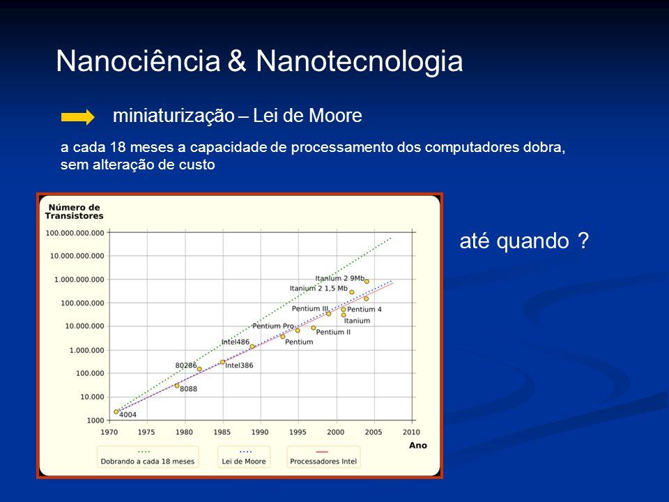 miniaturização – Lei de Moore Nanociência & Nanotecnologia a cada 18 meses a capacidade de processamento dos computadores dobra, sem alteração de cust