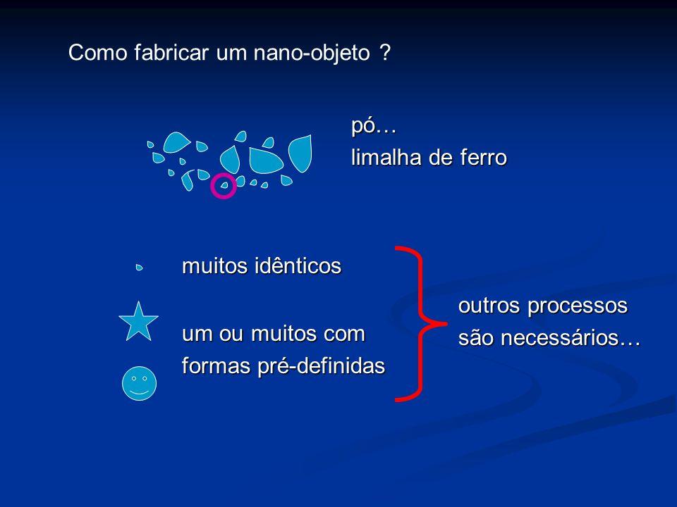 pó… limalha de ferro muitos idênticos um ou muitos com formas pré-definidas outros processos são necessários… Como fabricar um nano-objeto ?