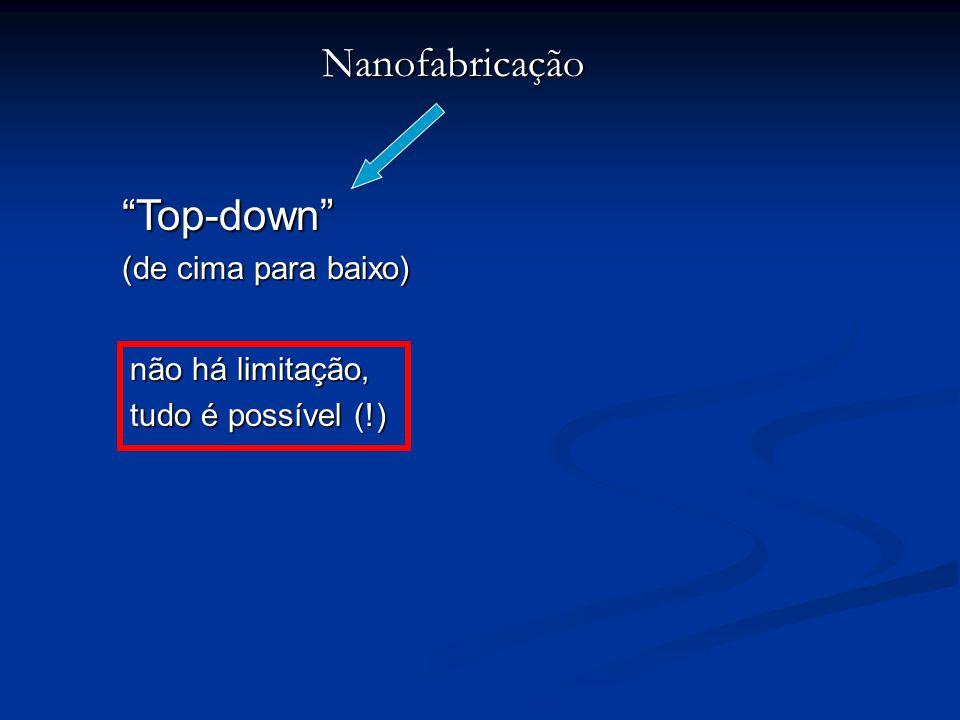 """Nanofabricação """"Top-down"""" (de cima para baixo) não há limitação, tudo é possível (!)"""
