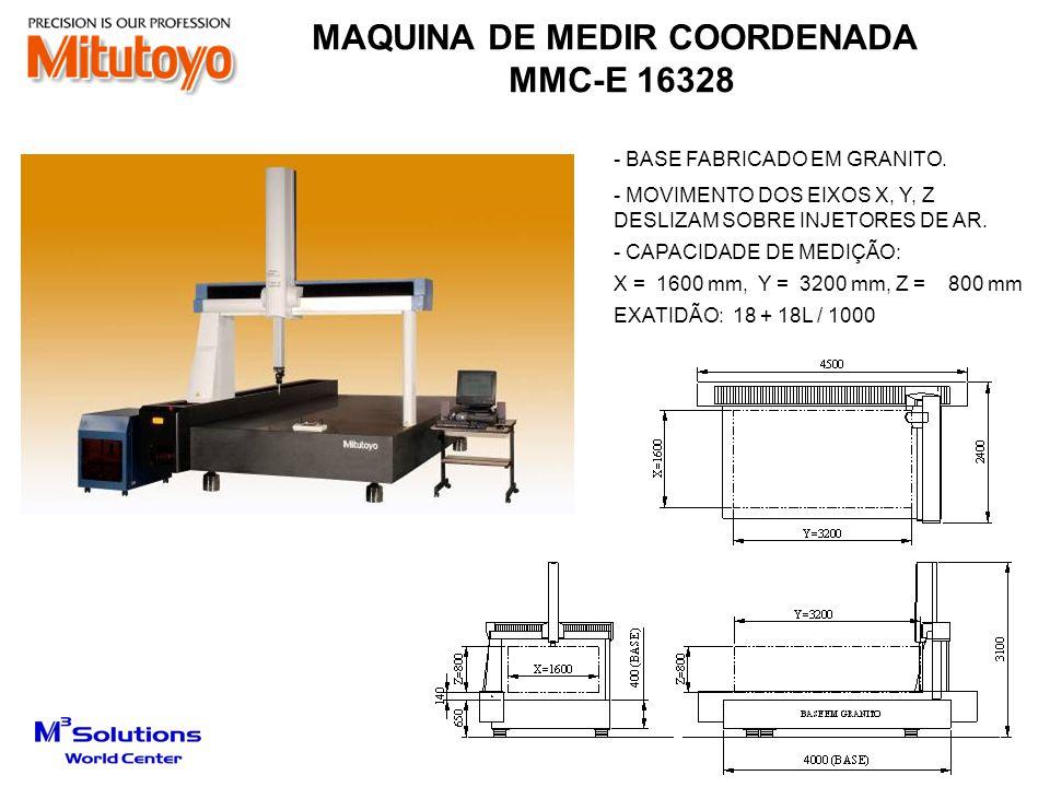 - BASEADO NA BND-CC 9168 - AUMENTO DE 150 mm (EIXO Z) E 50 mm (EIXO X) - COLUNA E SUPORTE MAIS ALTO 150mm - SUPORTE AFASTADO EM 50 mm - CAPACIDADE DE MEDIÇÃO (ORIGINAL): X = 900 mm, Y = 1600 mm, Z = 800 mm - EXATIDÃO: E = 1,9 + 3L / 1000 150 mm 50mm MAIOR ESPAÇO PARA PASSAGEM DE PEÇAS MAQUINA DE MEDIR COORDENADA MMC-E 9168
