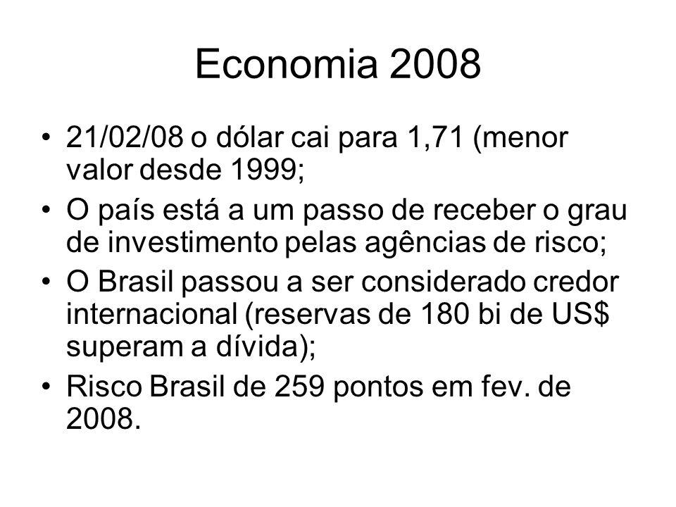 Economia 2008 21/02/08 o dólar cai para 1,71 (menor valor desde 1999; O país está a um passo de receber o grau de investimento pelas agências de risco
