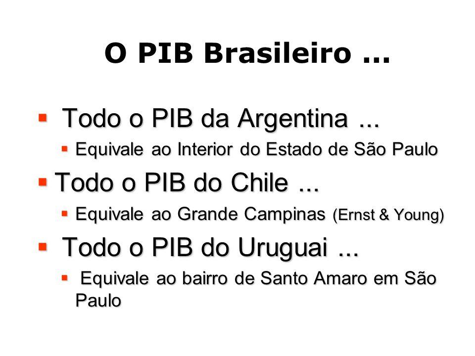 O PIB Brasileiro...  Todo o PIB da Argentina...  Equivale ao Interior do Estado de São Paulo  Todo o PIB do Chile...  Equivale ao Grande Campinas