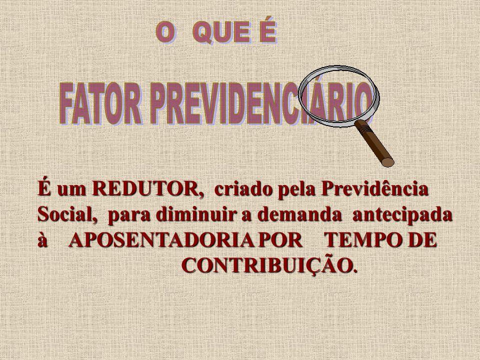 É um REDUTOR, criado pela Previdência Social, para diminuir a demanda antecipada à APOSENTADORIA POR TEMPO DE CONTRIBUIÇÃO.