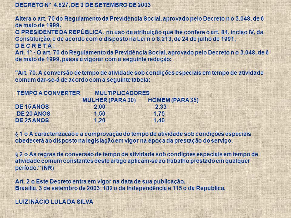 DECRETO N° 4.827, DE 3 DE SETEMBRO DE 2003 Altera o art.
