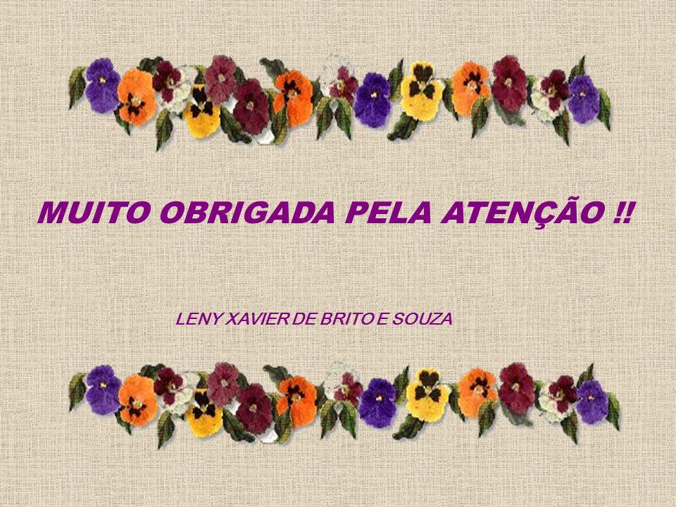 MUITO OBRIGADA PELA ATENÇÃO !! LENY XAVIER DE BRITO E SOUZA