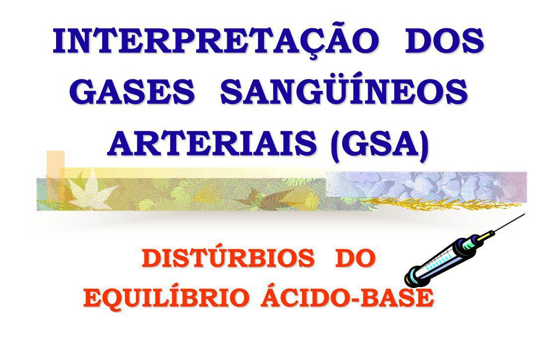 INTERPRETAÇÃO DOS GASES SANGÜÍNEOS ARTERIAIS (GSA) DISTÚRBIOS DO EQUILÍBRIO ÁCIDO-BASE