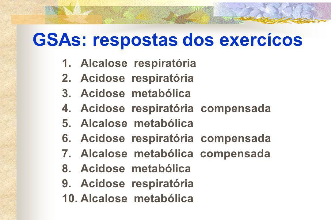 GSAs: respostas dos exercícos 1.Alcalose respiratória 2.