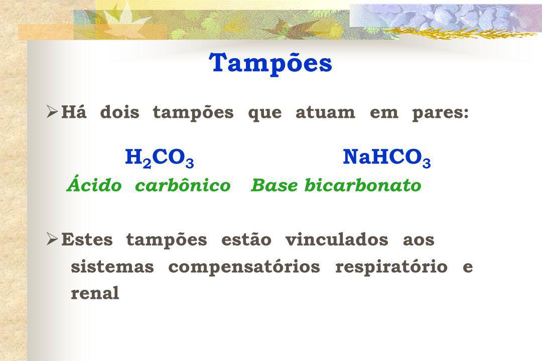  Há dois tampões que atuam em pares: H 2 CO 3 NaHCO 3 Ácido carbônico Base bicarbonato  Estes tampões estão vinculados aos sistemas compensatórios respiratório e renal Tampões