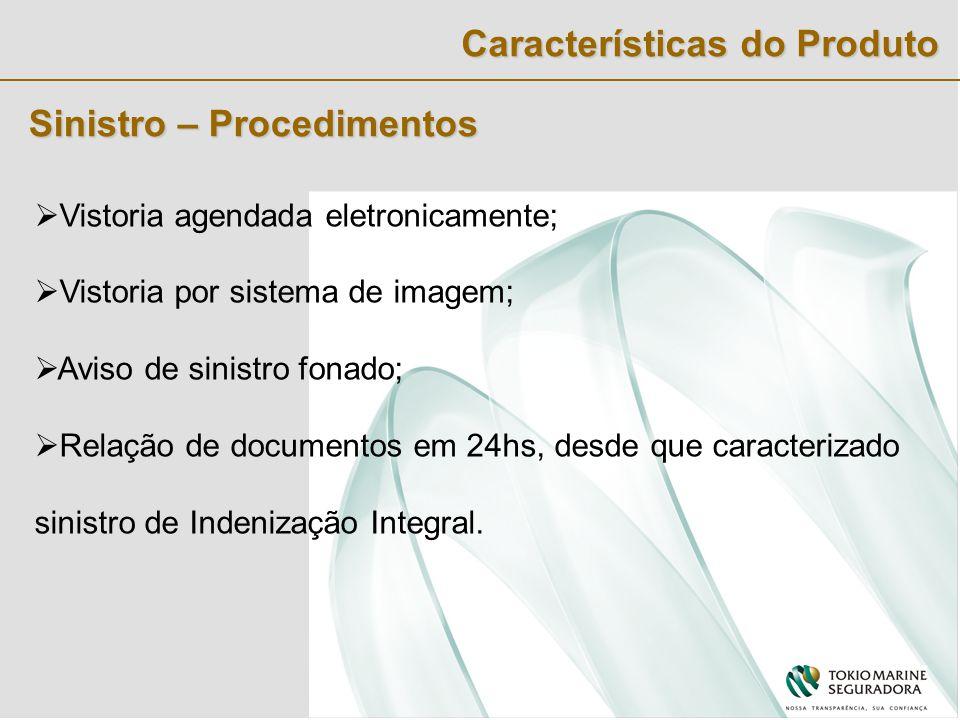 Sinistro – Procedimentos  Vistoria agendada eletronicamente;  Vistoria por sistema de imagem;  Aviso de sinistro fonado;  Relação de documentos em 24hs, desde que caracterizado sinistro de Indenização Integral.