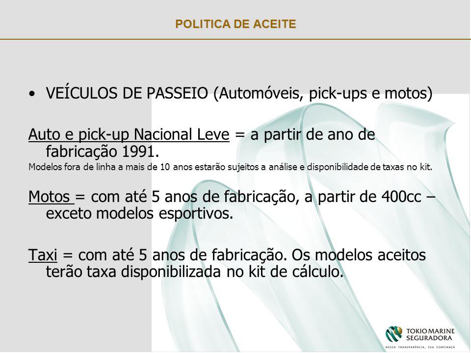 POLITICA DE ACEITE VEÍCULOS DE PASSEIO (Automóveis, pick-ups e motos) Auto e pick-up Nacional Leve = a partir de ano de fabricação 1991.